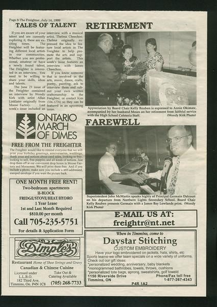 Freighter 1999 July 14. Annie Okimaw retirement. John McMartin. Germain Dalcourt.
