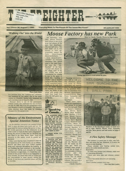 Freighter newspaper 1985 August 7