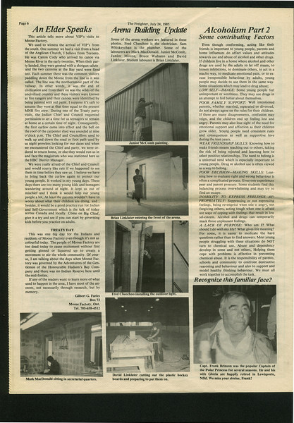 The The Freighter 1985 July 24. Gilbert Faries. Arena Building Update.