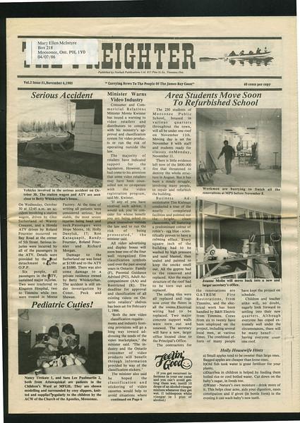 Freighter 1985 November 6. Moosonee Public School. Serious Accident.