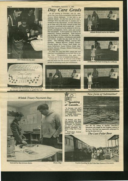 Freighter 1985 September 11th. Eric Cheena, Stan Louttit, Melanie Rickard, Jordanna Sutherland, Daniel Chilton, Neetu Singh.