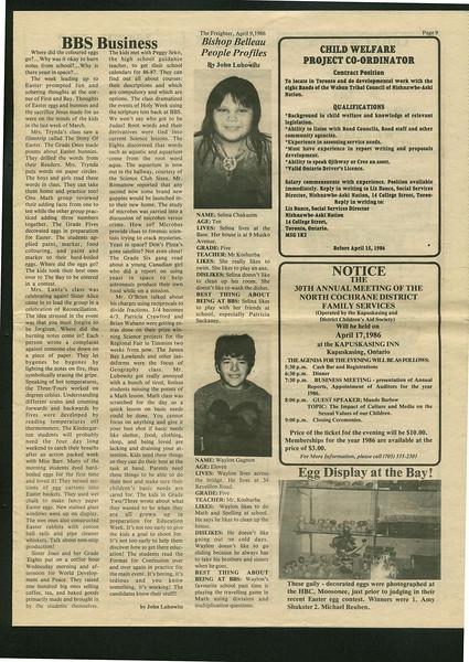 Freighter 1986 April 9. BBS business. Waylon Gagnon. Selina Chakasim.