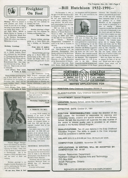 The Freighter newspaper 1991 November 20th. Bill Hutchison 1932 0 1991 obituary. Natasha Maggie Nakogee-Davis ballet class picture.