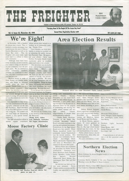 The Freighter newspaper 1991 November 20th. Election results for school boards.
