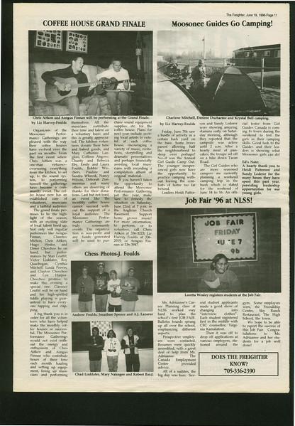 Freighter 1995 June 19. Coffee house. Moosonee Guides go camping. Job Fair.