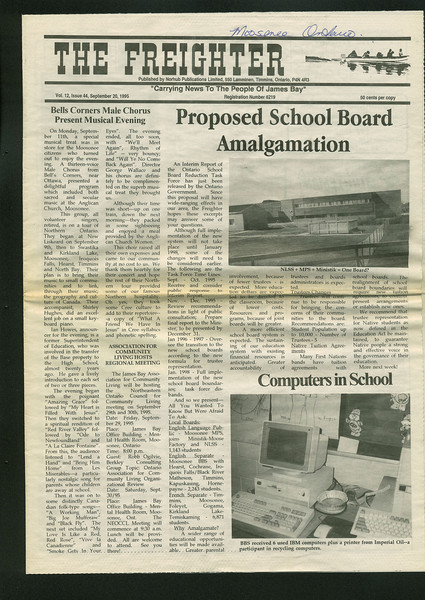 Freighter 1995 September 20. Proposed school board amalgamation. BBS donated computers.