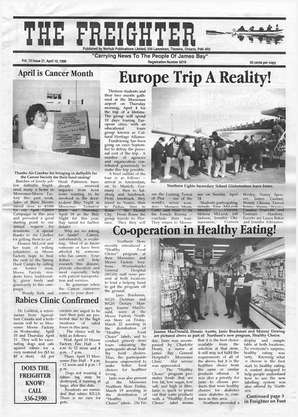 the Freighter 1996 April 10. NLSS Europe trip a reality,co-operation in healthy eating