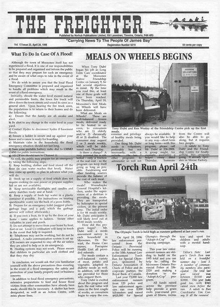 the Freighter 1996 April 24. Meals on wheels, what to do in case of a flood, torch run april 24th.