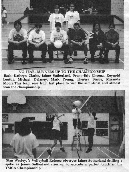 the Freighter 1996 April 24. Moose Factory YMCA recreational volleyball 1996. Store Creek bridge construction.