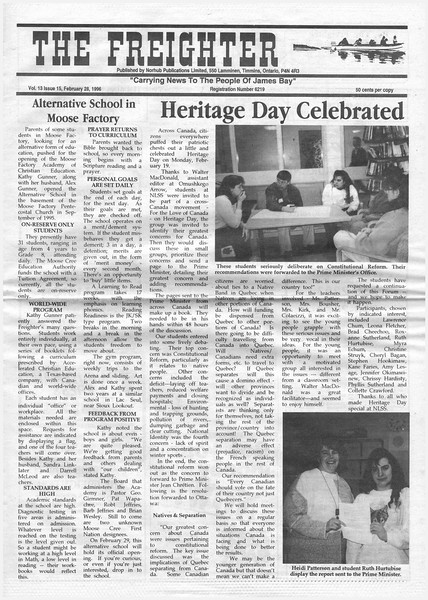 the Freighter 1996 February 28th. Alternative school in Moose Factory. Heritage Day celebrated.