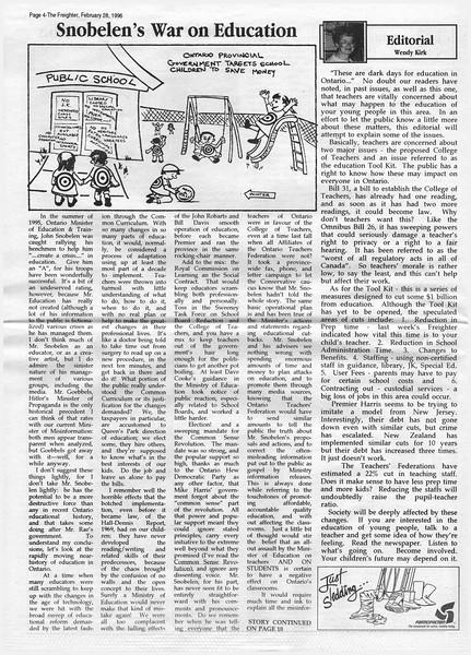 the Freighter 1996 February 28th. Snobelen's War on Education.