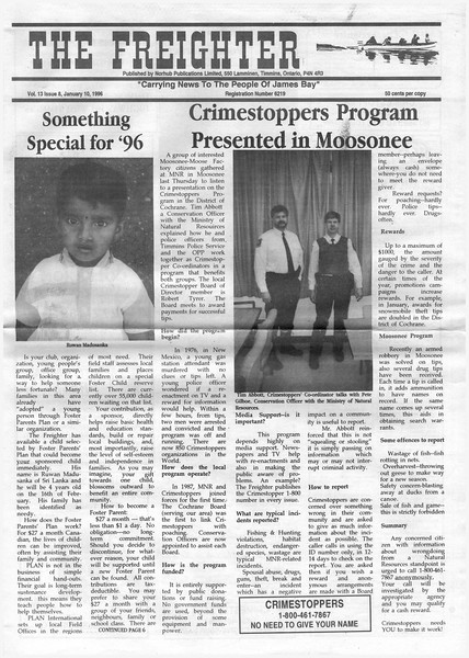 The Freghter 1996 January 10. Crimestoppers: Tim Abbott, Pete Gilboe