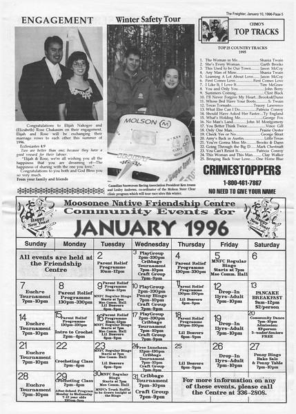 The Freghter 1996 January 10. Engagement of Elijah Nakogee and Rose Chakasim, Top Tracks, MNFC calendar