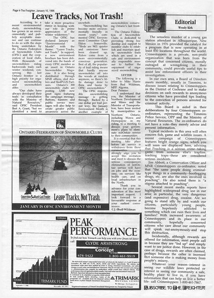 The Freghter 1996 January 10. Leave Tracks, Not Trash!