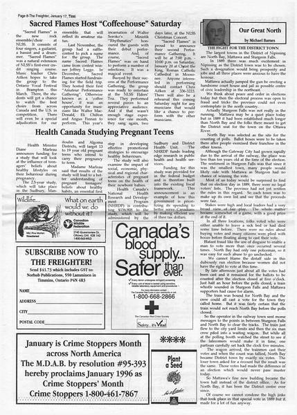 The Freighter newspaper 1996 January 17th. Sacred Flames host Coffeehouse: teacher Chris Aitken. Walter Soroko's Ministik Rhythmatics.