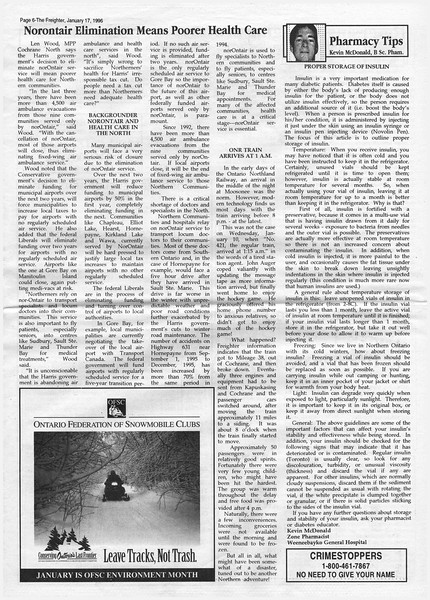 The Freighter newspaper 1996 January 17th. Norontair elimination means poorer health care. Regular train arrived at 1:15 am. Proper storage of insulin.