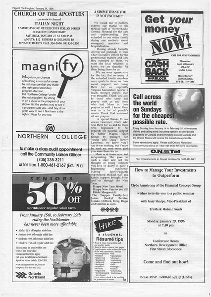 Freighter newspaper 1996 January 24th. Thank you to medical staff from the Trapper family.