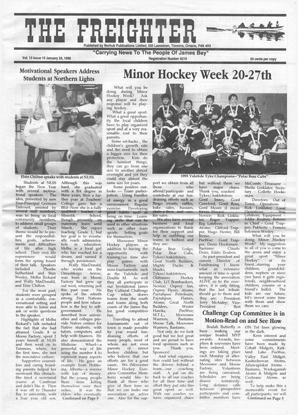 The Freighter newspaper 1996 January 24th. Minor hockey week, speakers at NLSS: Phoebe Sutherland, Stan Wesley, Melba Rickard, Wally MacDonald and Elsie Chilton.