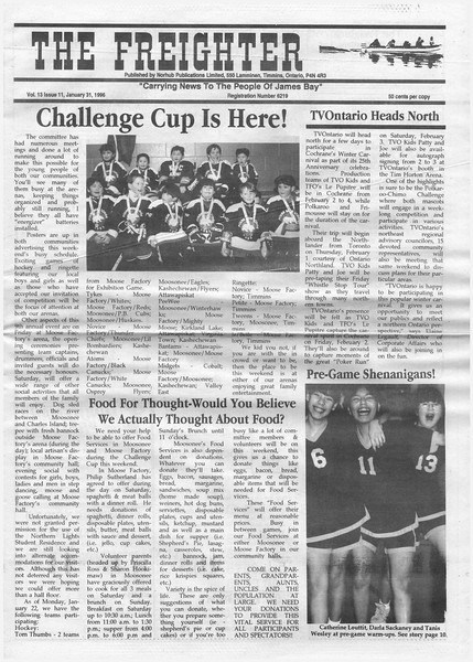 The Freighter newspaper 1996 January 31st. Challenge Cup, TVOntario heads north. Catherine Louttit, Darla Sackaney, Tanis Wesley.