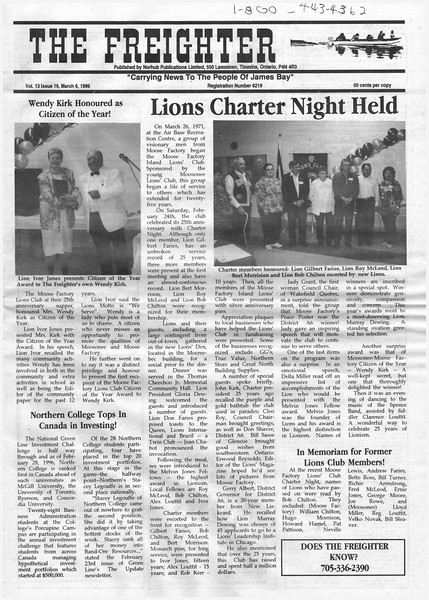 the Freighter 1996 March 6. Wendy Kirk Citizen of the year. Lions Charter Night.