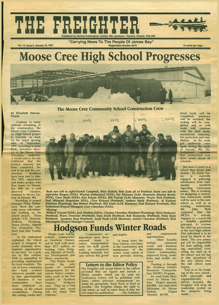 Freighter 1997 January 15 - Moose Cree High School progresses, Hodgson funds winter roads