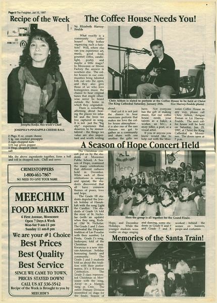 Freighter 1997 January 15 - Coffee House, Season of Hope Concert, Memories of the Santa Train, Recipe of the Week by Josepha Kodje