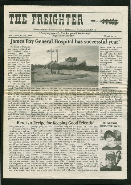 Freighter 1999 July 7. James Bay General Hospital.
