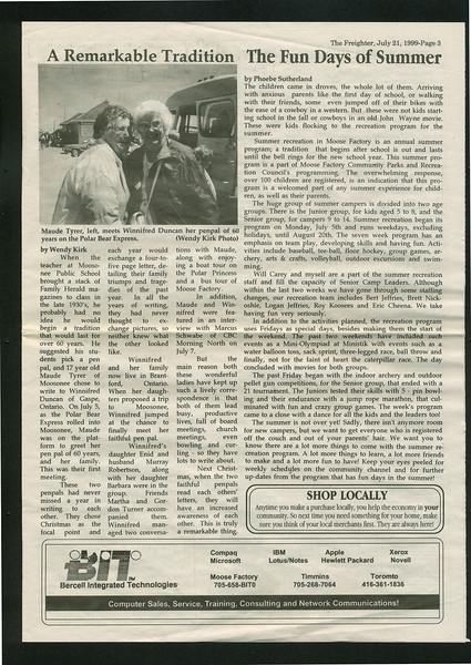 Freighter 1999 July 21. Maude Tyrer. Winnifred Duncan.