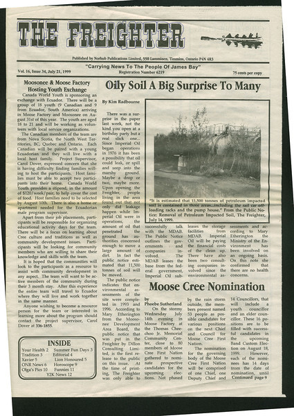 Freighter 1999 July 21. Oily soil. Canada World Youth. Moose Cree nomination.