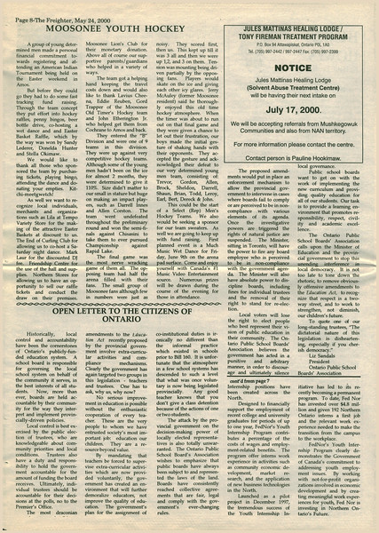 Freighter 2000 May 24th - Moosonee youth hockey