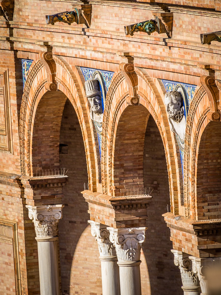 Façades in the Archway, Plaza de España, Seville