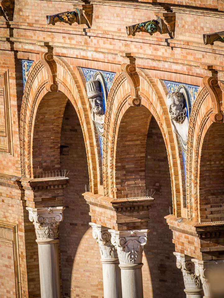 Façades in the Archway, Plaza de España, Seville