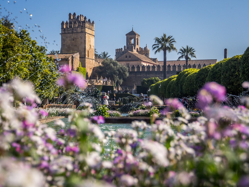Flowers and Towers of the Alcázar, Córdoba, Spain
