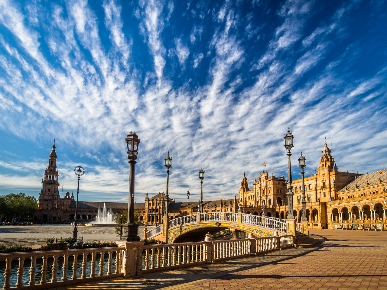 Brilliant Clouds over the Plaza de España, Seville, Spain