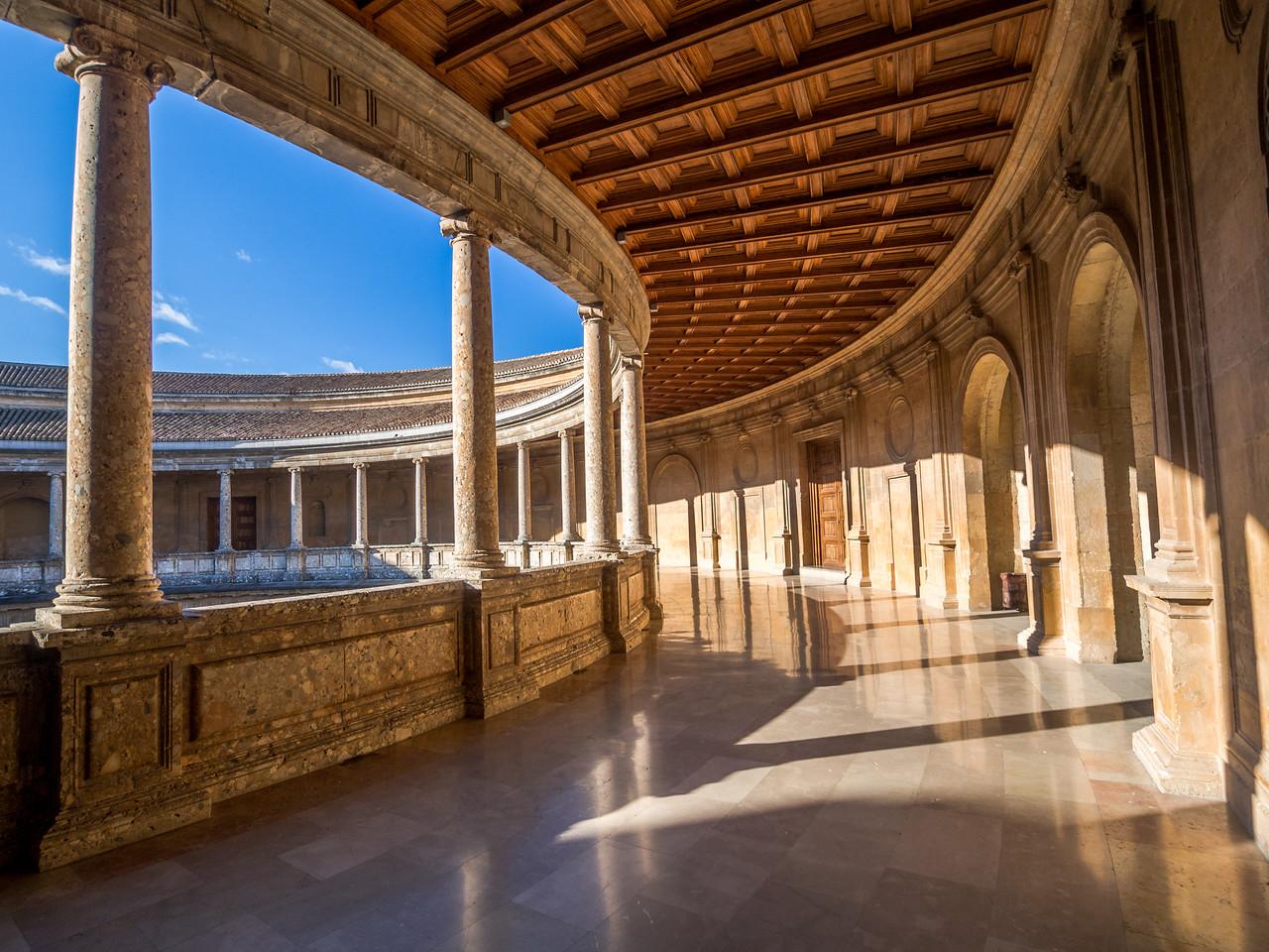 Inside the Palacio de Carlos V, Alhambra, Granada, Spain