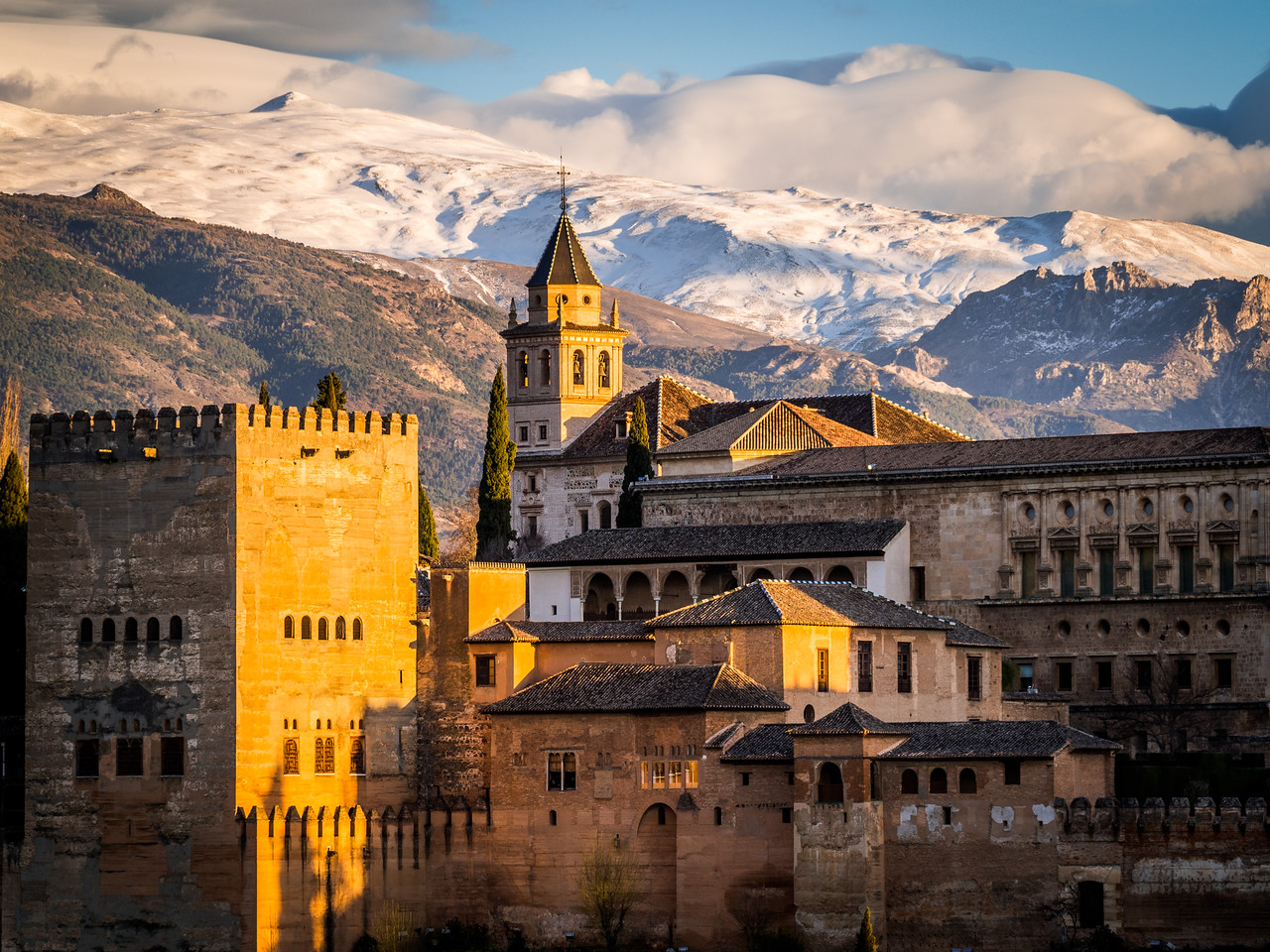 Alhambra Closeup and Nevadas, Granada, Spain