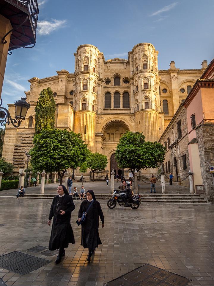 Nuns leaving the Cathedral, Málaga, Spain