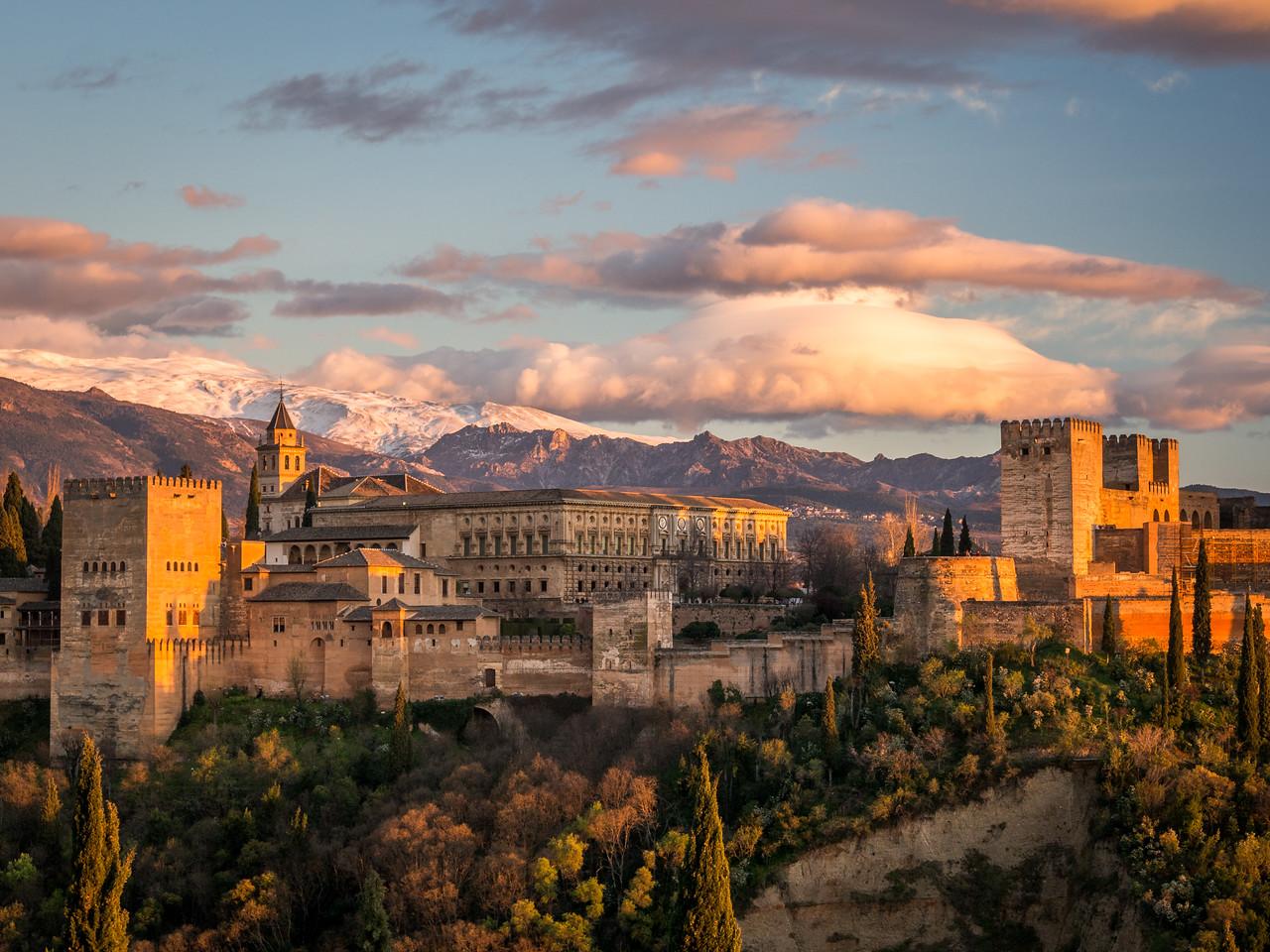 The Alhambra at Sunset, Granada, Spain