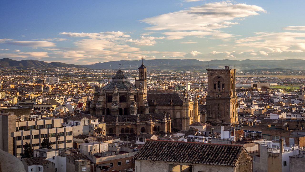 Late Afternoon over Granada Cathedral and City, Spain