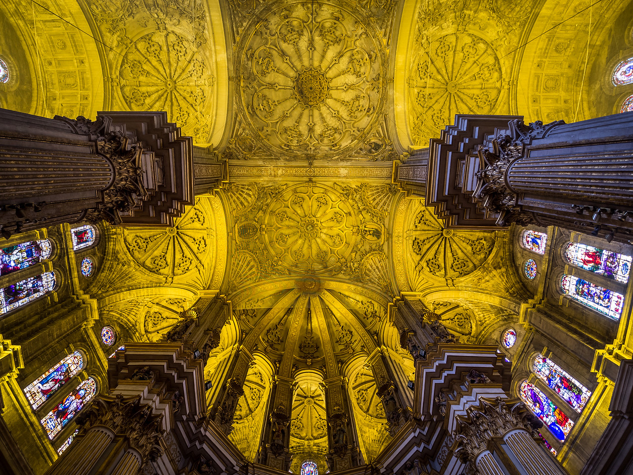 Ornate Ceiling of Málaga Cathedral, Spain