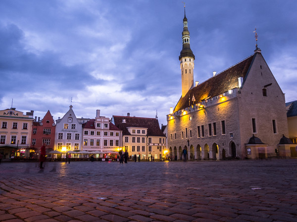 Image result for Tallinn town square night