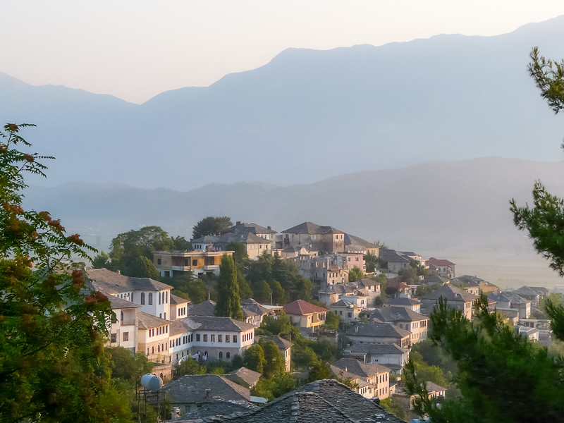 Morning Light on Gjirokastra Homes, Albania