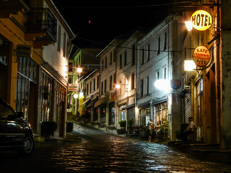 Gjirokastra Street at Night