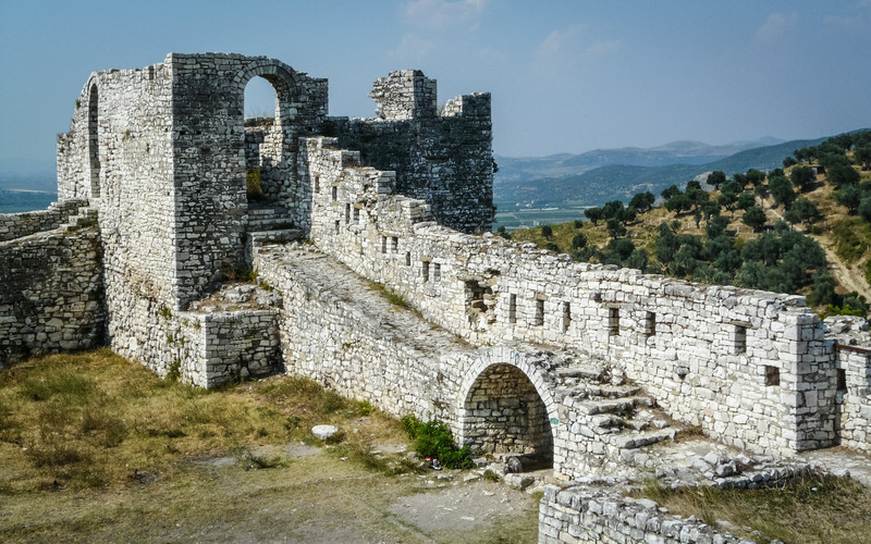 Castle Ruins Over Berat Countryside