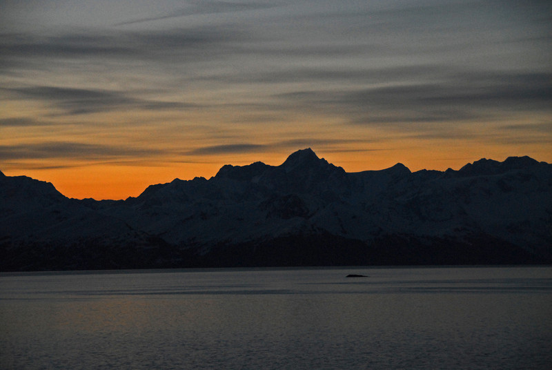 What an amazing event to experience the first night's Alaskan sunset; and it took place at 10:45pm no less!