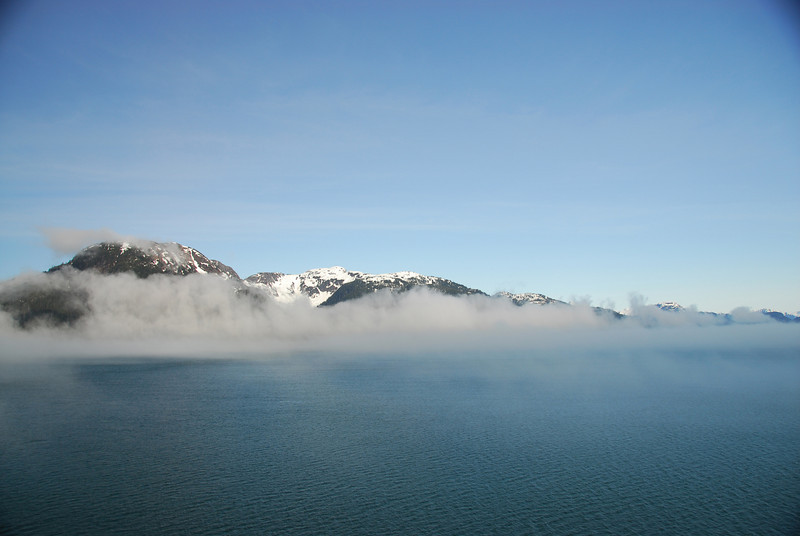 "As the ship begins to enter Glacier Bay National Park, we were met with a mist as the ""gate"" into the park"