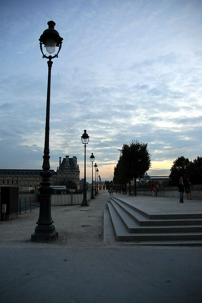 Streets of Paris at dusk