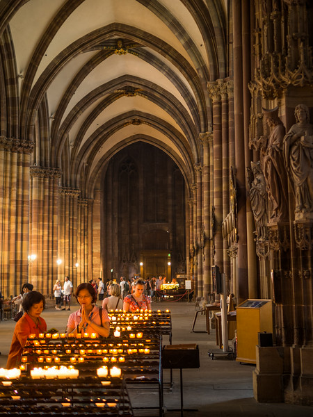 Lighting a Candle, Strasbourg Cathedral