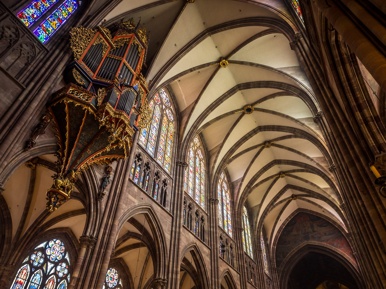 Nave Vaulting and Organ of Strasbourg Cathedral, France