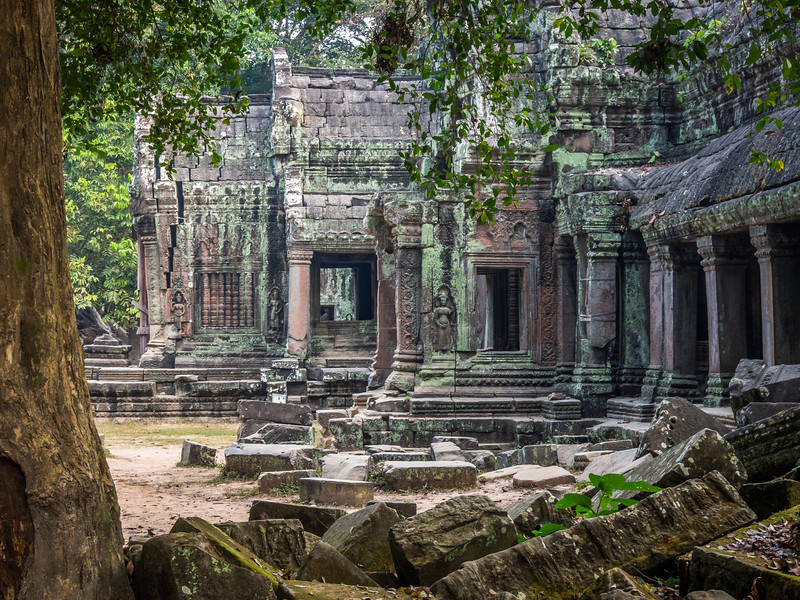 Temple and Fallen Stones, Ta Prohm, Angkor, Cambodia